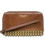 COACH 皮革鉚釘手機/卡夾包(咖)