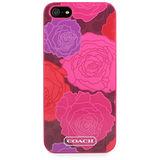 COACH 浪漫玫瑰花卉圖紋iPhone 5手機保護殼(桃紅色)