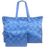 COACH 輕量尼龍子母肩背購物包(大/冰藍)