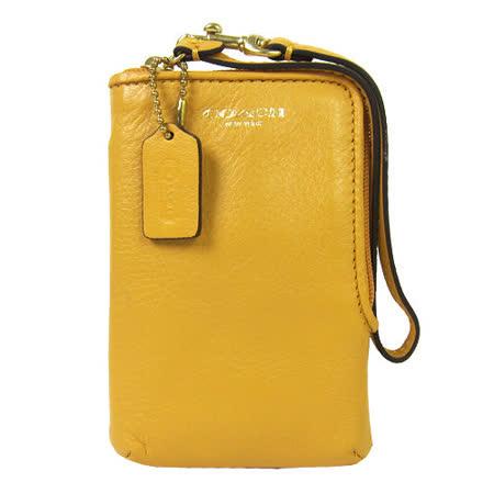 COACH LEGACY L型拉鍊皮革掛式卡夾手機包(芒果黃)