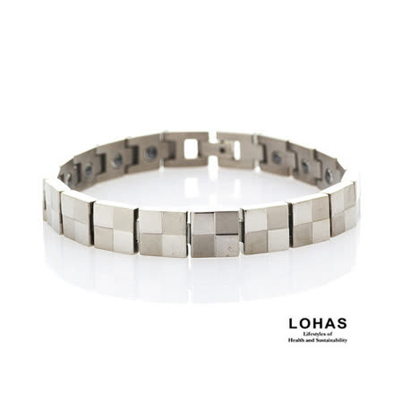 【LOHAS-日本鍺鈦】魔術方塊5顆錐形金屬鍺男款手鍊