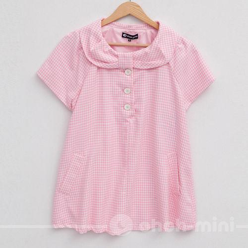 【ohoh-mini孕婦裝】甜姐兒日系格紋短版孕婦上衣