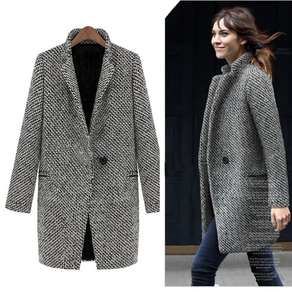 【韓系女裝】立領千島格紋 加厚版大衣