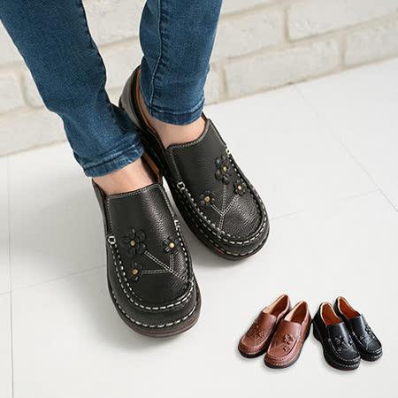 【Pretty】必備經典!小花楔型厚底休閒鞋-黑色