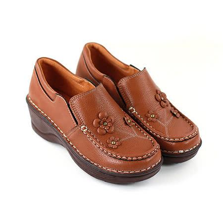 【Pretty】必備經典!小花楔型厚底休閒鞋-棕色
