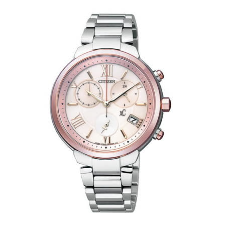CITIZEN xC 極致優美【鈦】金屬光動能計時腕錶(粉面/35mm)_FB1334-54W