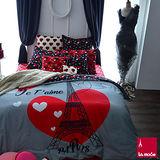 La Mode寢飾☆愛在巴黎☆100%精梳棉-被套床包組(特大)