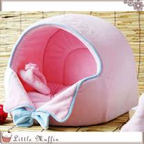 【Little Muffin小馬芬】日本KOJIMA 粉紅紳士領結造型寵物床/貓狗窩/蒙古包 L號 W44*D38*H37cm
