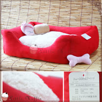 【Little Muffin小馬芬】日本KOJIMA 超細纖維方型寵物床(紅) pet iris可參考 58x48x18cm