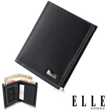 ELLE HOMME 法式精品短夾-水波紋系列、鈔票多層/證件多層夾/名片多層設計短夾-黑EL81769-02