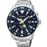 SEIKO Sportura 人動電能GMT霸氣腕錶-藍x銀 5M85-0AA0B