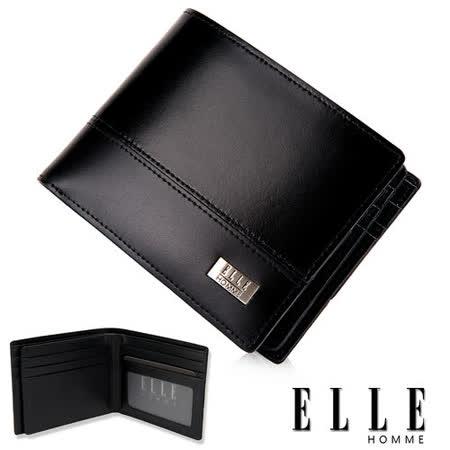 ELLE HOMME 精品短夾 水波紋 雙層 鈔票多層/收納夾名片/證件層設計-黑EL81795-02