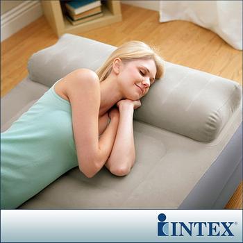 【INTEX】豪華雙層有頭枕單人加大充氣床-寬99cm(附電動幫浦)
