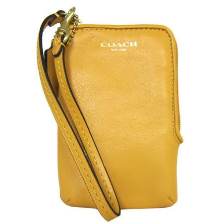 COACH LEGACY L型拉鍊皮革掛式卡夾手機包(芥末黃)