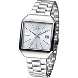 cK 極簡方形風尚女腕錶-銀白K3L33166