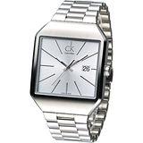 cK 極簡方形風尚男腕錶-銀白K3L31166