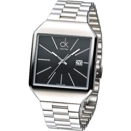 cK 極簡方形風尚男腕錶-黑K3L31161