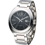 cK 潮流極簡風經典男腕錶-黑K0R21161