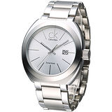 cK 潮流極簡風經典男腕錶-銀白K0R21126