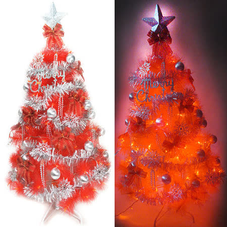 台灣製6尺(180cm)特級紅色松針葉聖誕樹 (銀紅色系配件+100燈LED燈紅光2串)(附控制器跳機)