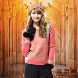 【麥雪爾】美麗人生~千鳥格紋基本款羊毛針織上衣