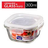 任選__樂扣樂扣玻璃微烤兩用保鮮盒-白條方型300ML(LLG205)