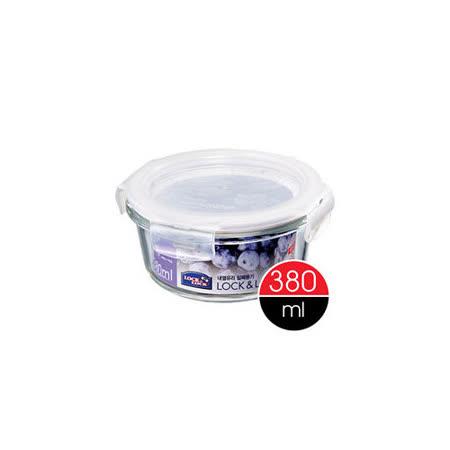 任選__樂扣樂扣微烤玻璃兩用保鮮盒白條圓型380ML(LLG821)