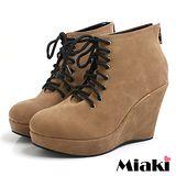 (現貨+預購)【Miaki】MIT 韓國時尚後拉鍊坡跟包鞋短靴踝靴 (棕色)