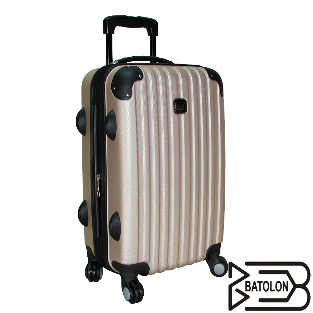 【BATOLON寶龍】20吋-風尚條紋ABS輕硬殼箱/旅行箱/行李箱/拉桿箱