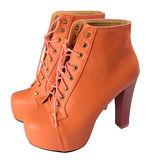 《JOYCE》韓系嚴選高統裸靴粗跟馬丁高跟鞋-橘