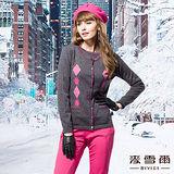 【麥雪爾】都市奢華~菱格圓領義大利羊毛薄針織外套