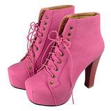 《JOYCE》韓系嚴選高統裸靴粗跟馬丁高跟鞋-桃紅