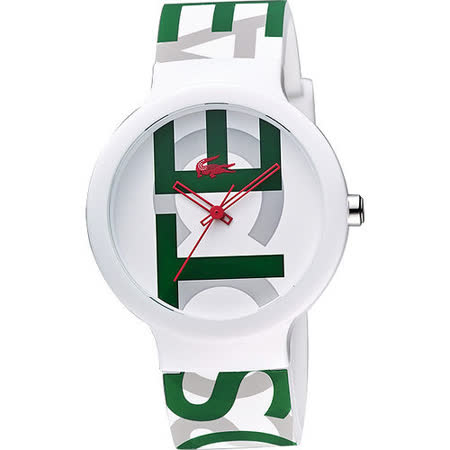 Lacoste 鱷魚 品牌時尚玩家LOGO腕錶-白X綠 L2020062