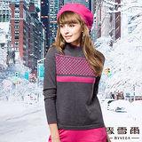 【麥雪爾】都市奢華~菱格線條高領義大利羊毛針織上衣