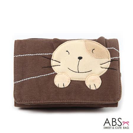 ABS貝斯貓 Simple Style複合式拼布零錢短夾 (可可咖) 88-031
