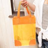 橙色透明果凍手提收納袋