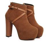 《JOYCE》巴黎復古絨毛裸靴-棕