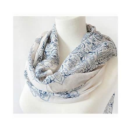 【Decoy】復古青花瓷*雪紡仿真絲圍巾/米