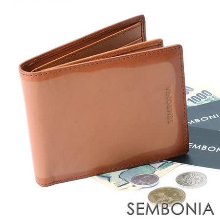 SEMBONIA 旅人印記九卡可翻式相片短夾(褐色)SM175-503-85