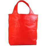 BOTTEGA VENETA 純手工半編織小羊皮手提包.紅
