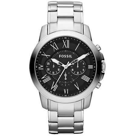 FOSSIL Grant 旗艦三眼計時復刻腕錶-黑/銀 FS4736