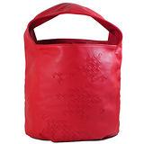 BOTTEGA VENETA 純手工半編織小羊皮單柄肩背包.紅