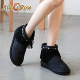 Alice's Rose帥氣鉚釘流蘇短筒雪靴-黑色
