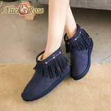 Alice's Rose帥氣鉚釘流蘇短筒雪靴-海軍藍色