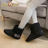 Alice's Rose典雅花漾編織中筒雪靴-黑色