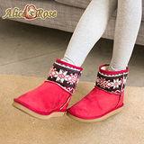 Alice's Rose俏麗雪花針織中筒雪靴-紅色