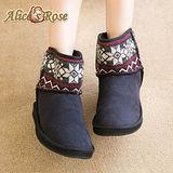 Alice's Rose俏麗雪花針織中筒雪靴-黑色