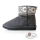 Alice's Rose俏麗雪花針織中筒雪靴-灰色