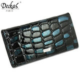 【DeckasParis】法國名品真皮皮夾鱷魚紋亮面亮粉手機包禮盒女夾男夾真皮長夾(藍/紫)BW-0138-1