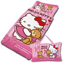 【享夢城堡】超纖單用4X5兒童睡袋-HELLO KITTY 我愛麻吉熊-粉
